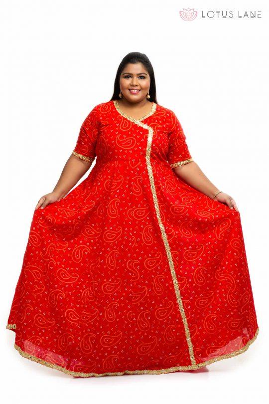 Red cotton angrakha plus size Dress 4