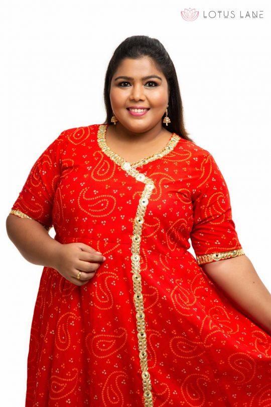 Red cotton angrakha plus size Dress 3