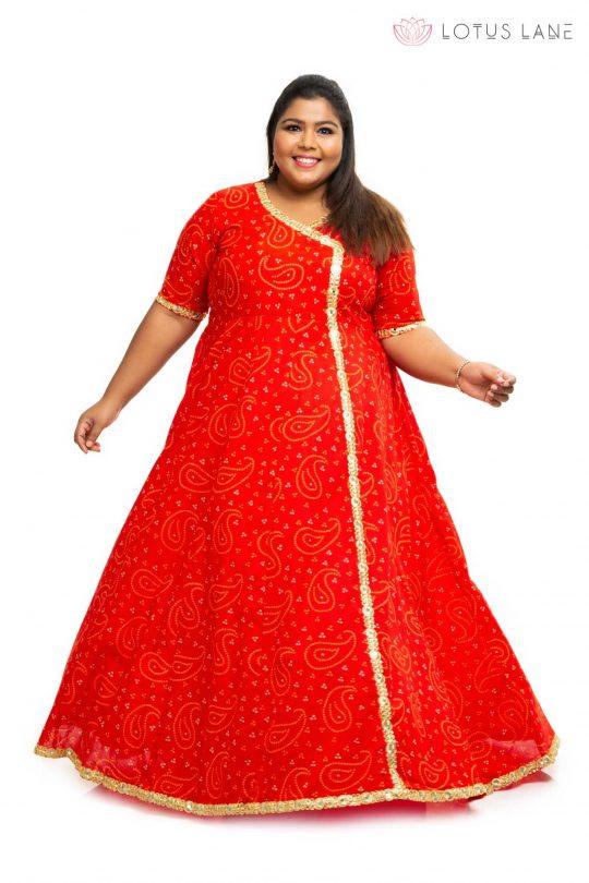 Red cotton angrakha plus size Dress 2