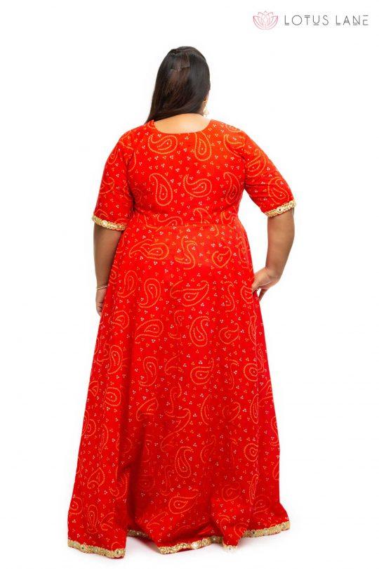 Red cotton angrakha plus size Dress Back