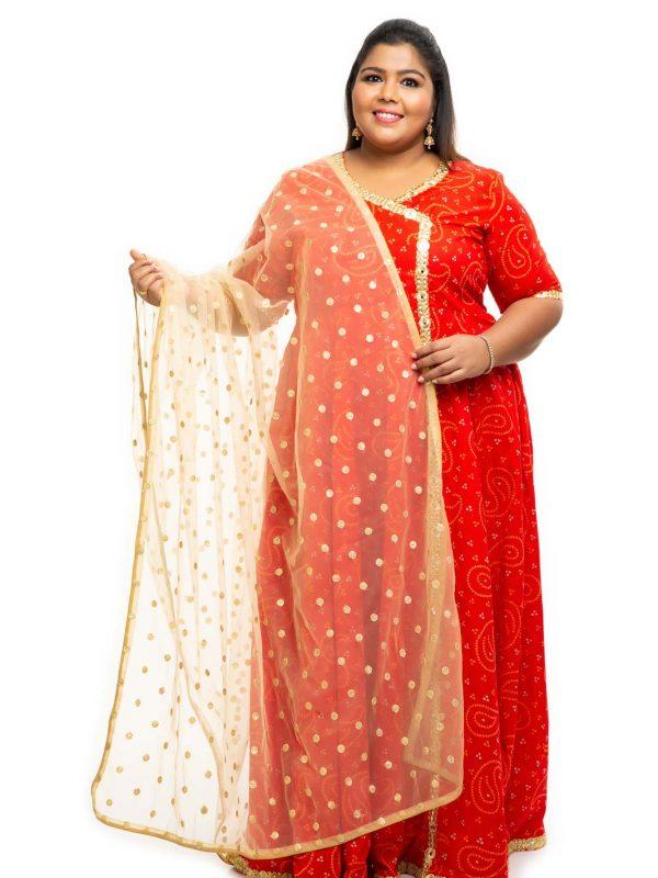 Red cotton angrakha plus size Dress 1