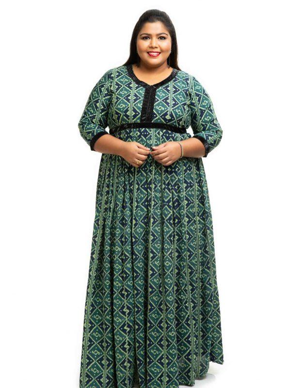 Green rayon printed plus size Dress 3