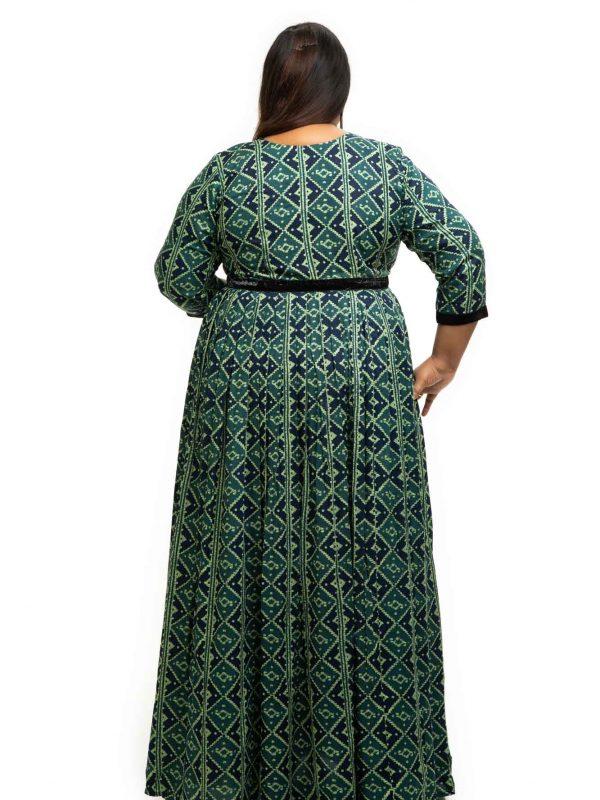 Green rayon printed plus size Dress back