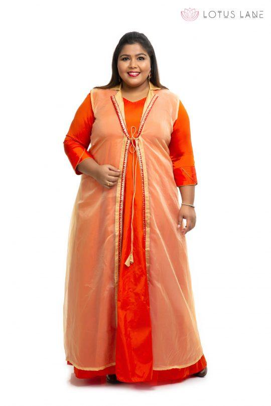 Orange with gold Organza plus size dress 3