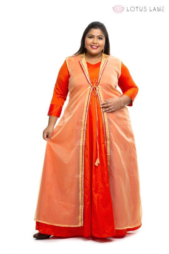 Orange with gold Organza plus size dress 2