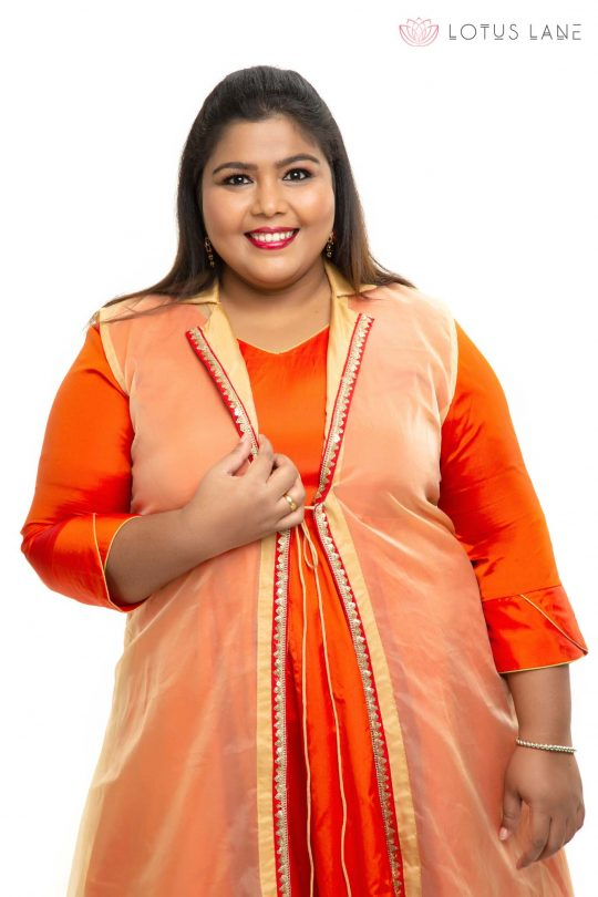 Orange with gold Organza plus size dress 1