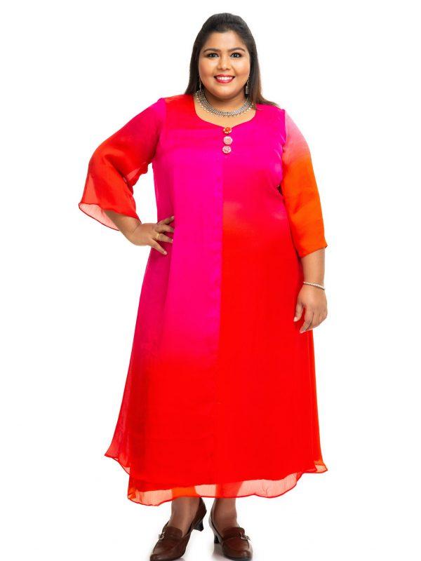 Triple shaded Modal satin dress side 2