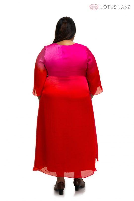 Triple shaded Modal satin dress back
