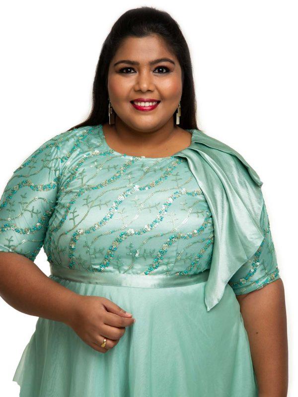 green organza dress