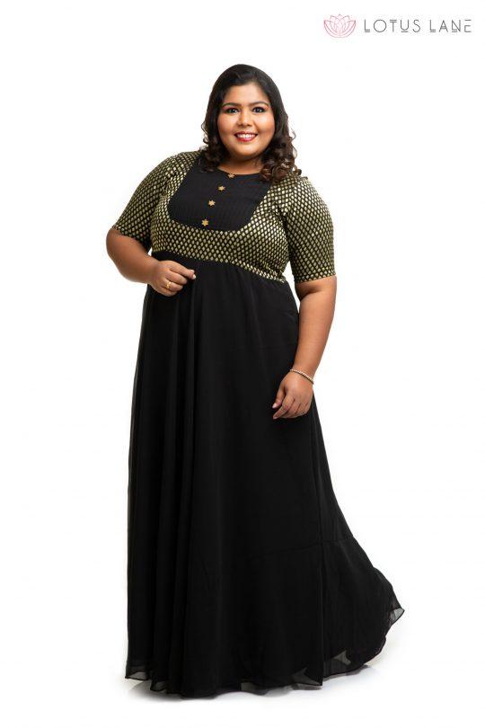 Black brocade ethnic plus size Dress 2