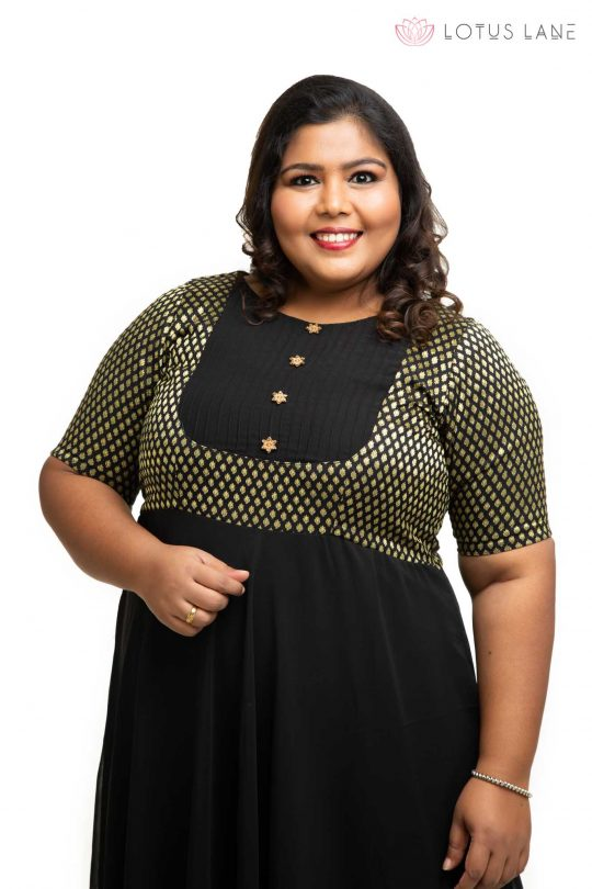 Black brocade ethnic plus size Dress 1