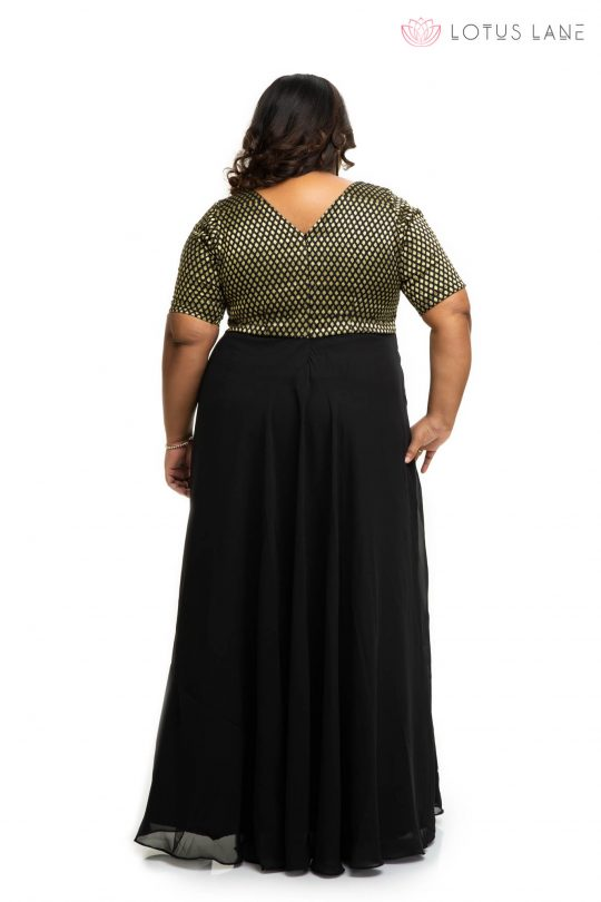 Black brocade ethnic plus size Dress back