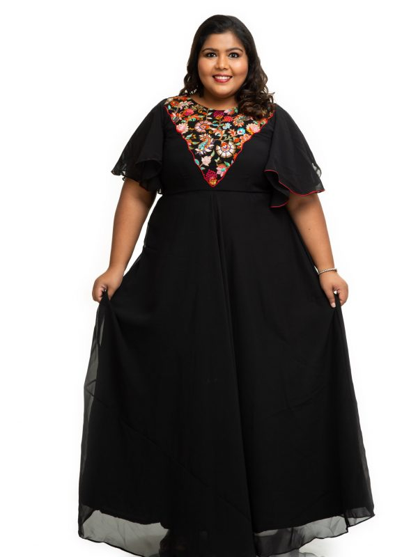 Black Georgette plus size dress with embroidery yoke 4