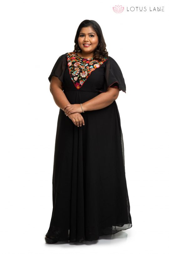Black Georgette plus size dress with embroidery yoke 3