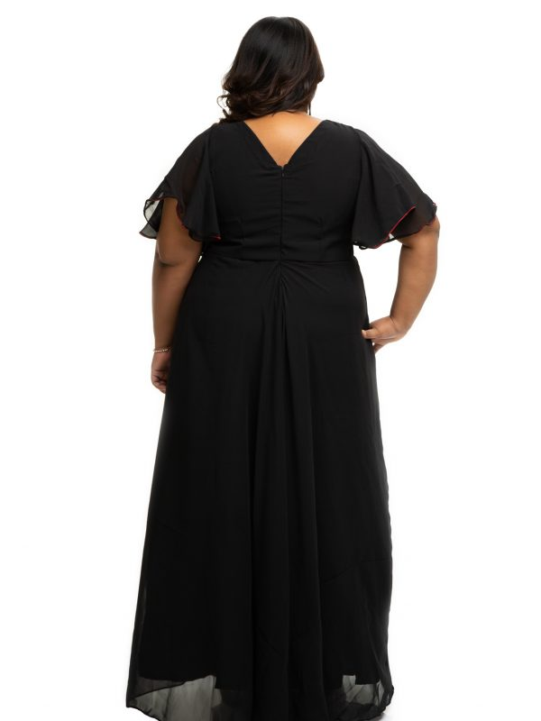 Black Georgette plus size dress with embroidery yoke back