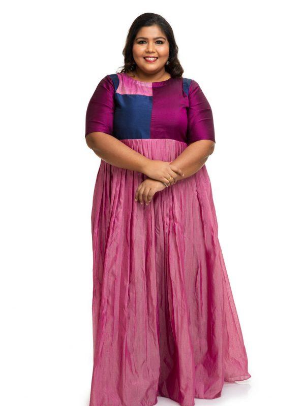 Multi colour raw silk dress 3