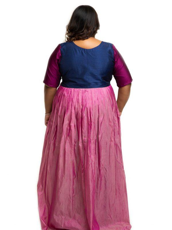Multi colour raw silk dress back