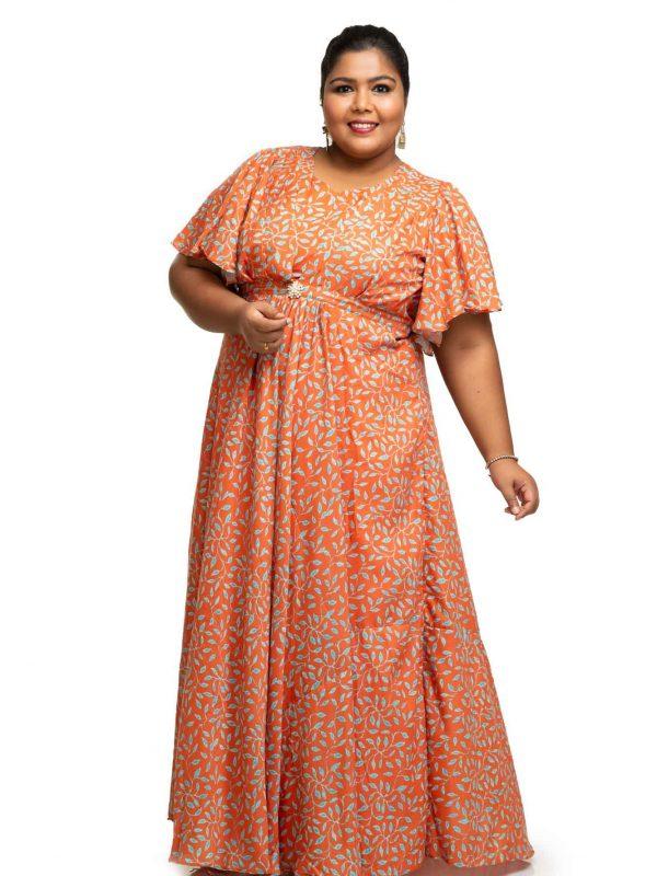 printed Modal satin Saffron dress 3