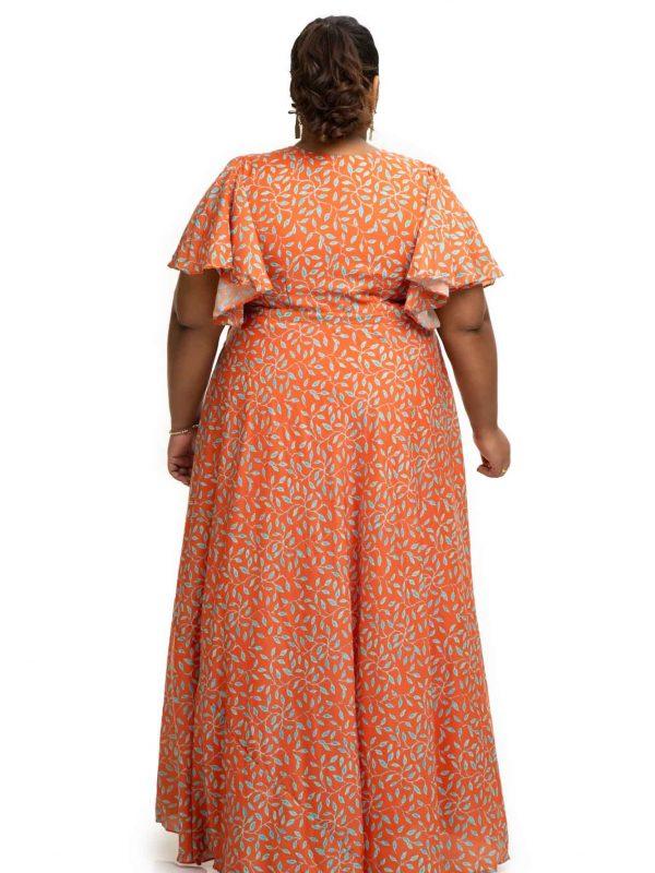 printed Modal satin Saffron dress back