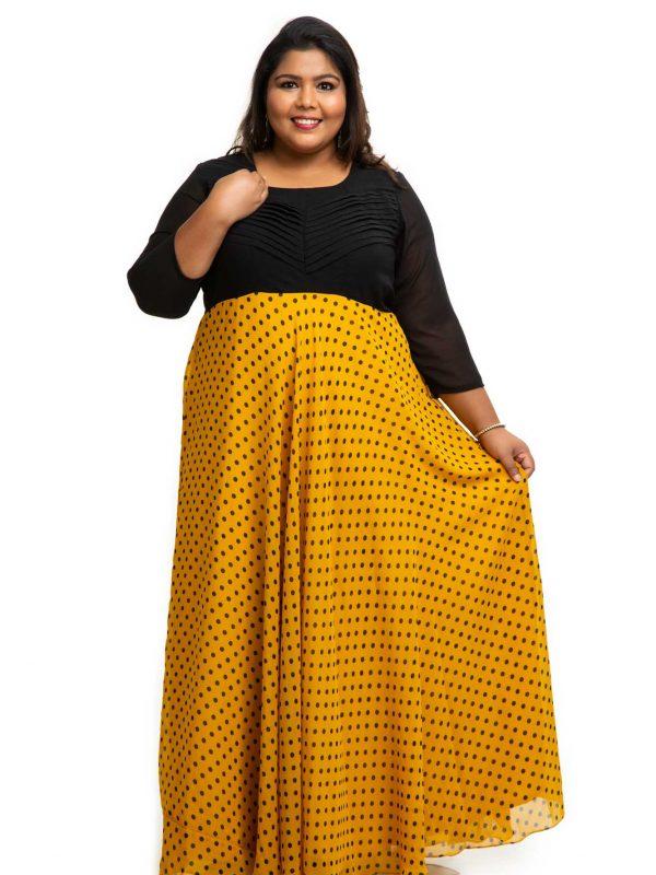 Yellow polka dot plus size dress 1