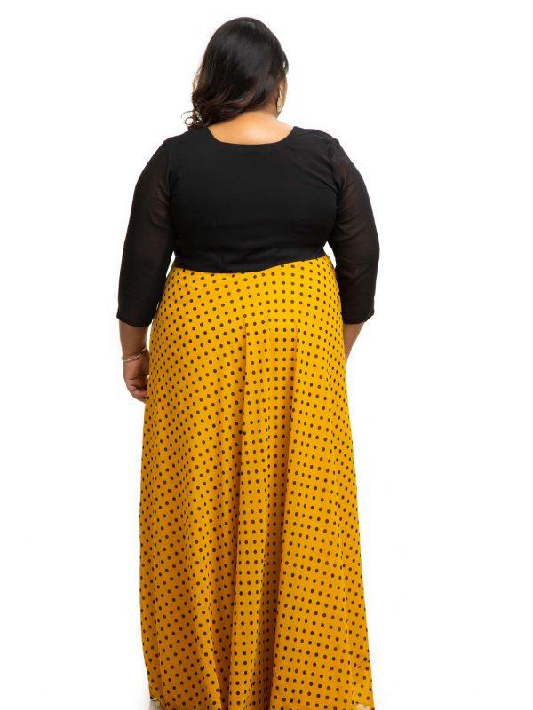 Yellow polka dot plus size dress back
