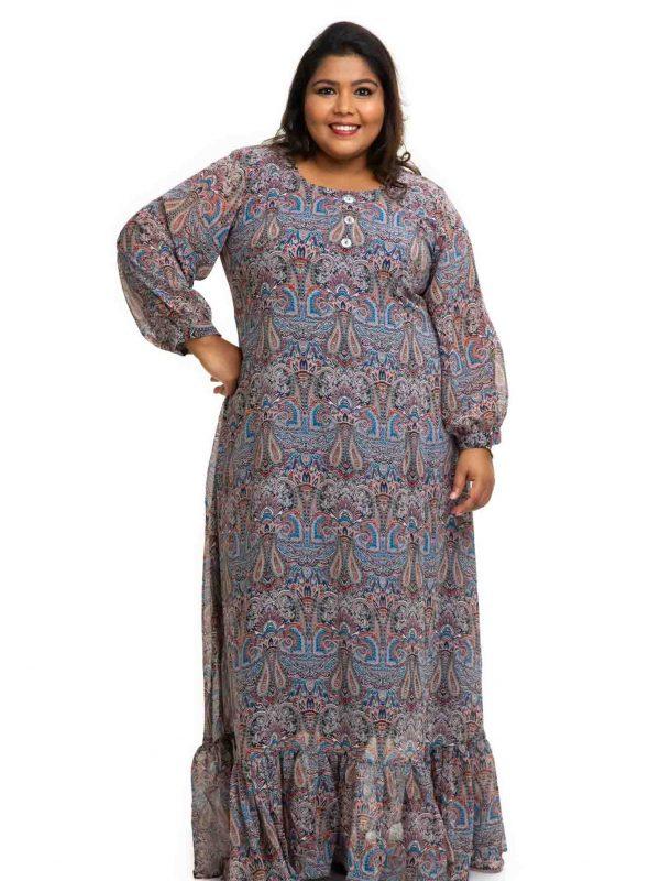 Printed Georgette plus size dress 2