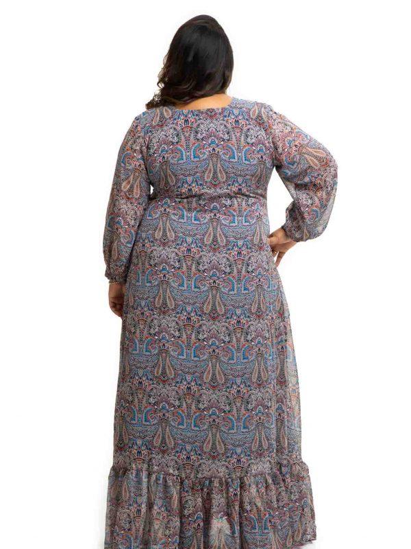 Printed Georgette plus size dress back