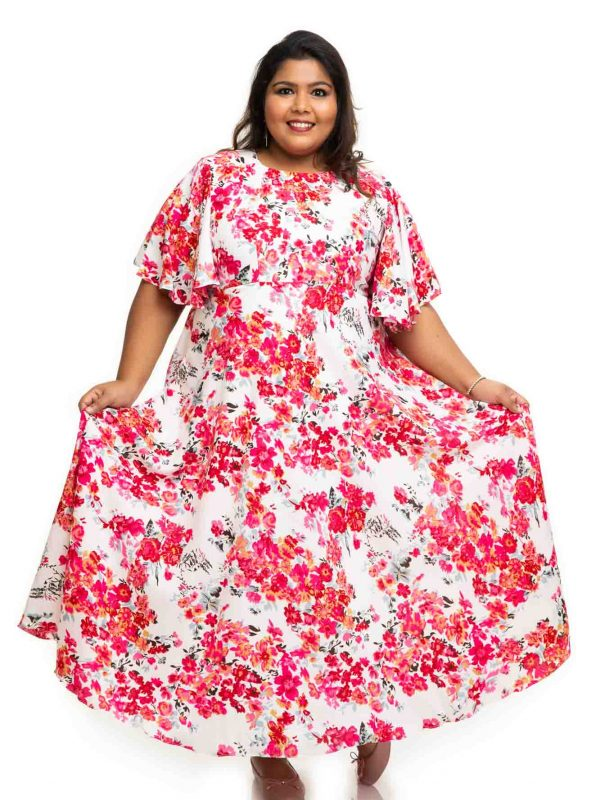 Rose flower printed sand crape dress 4