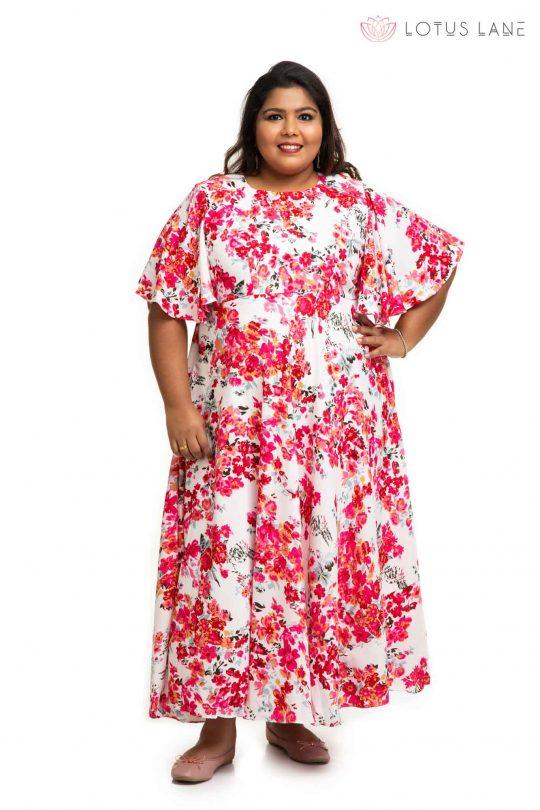 Rose flower printed sand crape dress 1