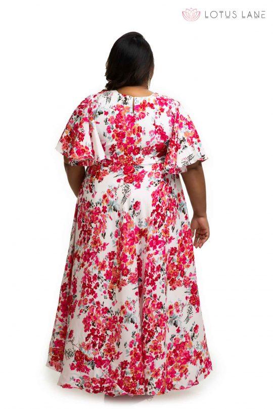 Rose flower printed sand crape dress back