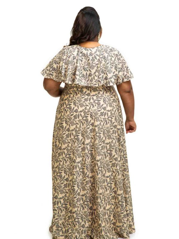 Ivory modal satin cape dress back