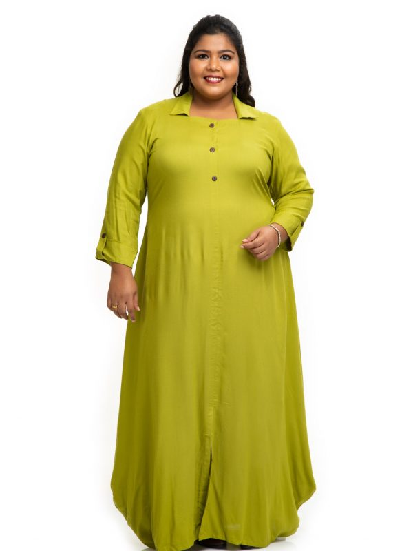 Green rayon shirt dress 2