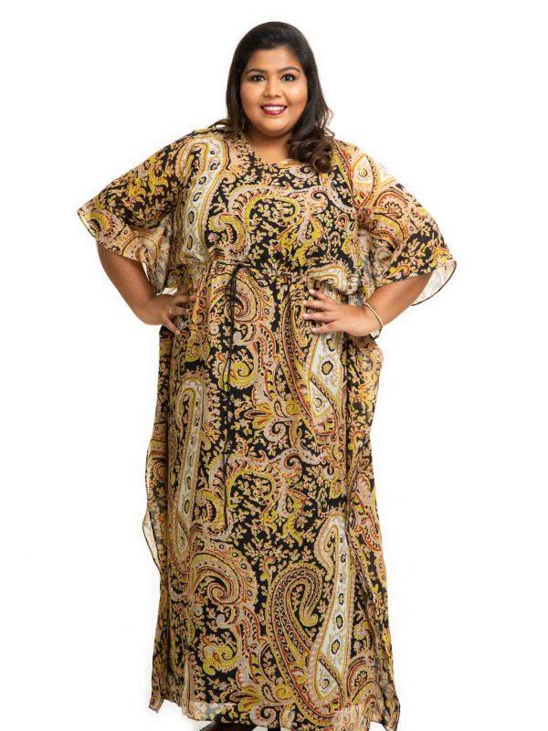 Black printed Georgette Kaftan Dress 3