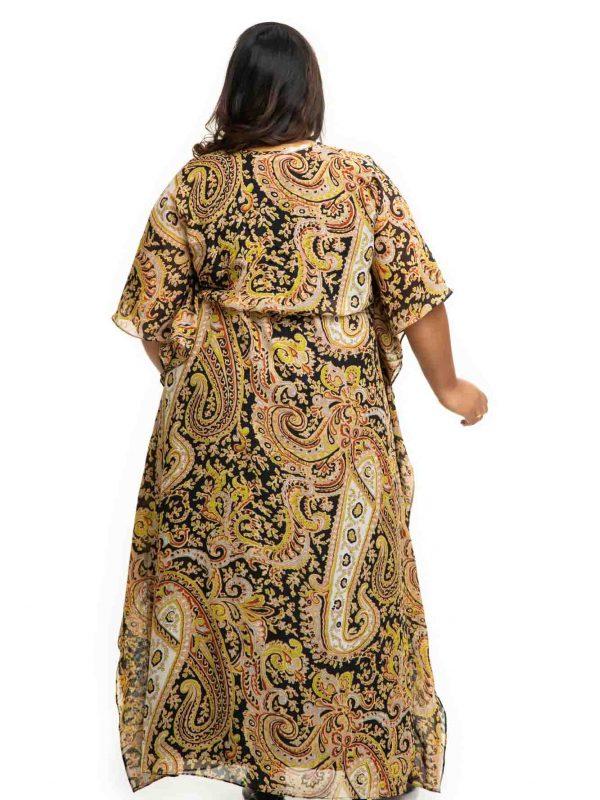 Black printed Georgette Kaftan Dress back