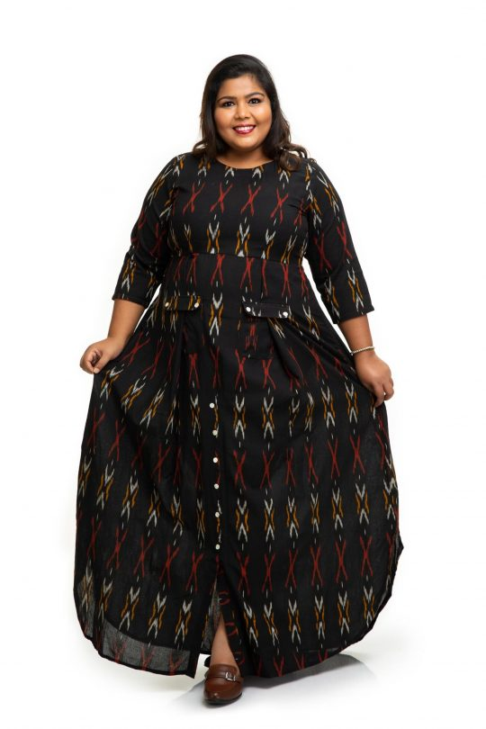 Black ikat cotton dress 4