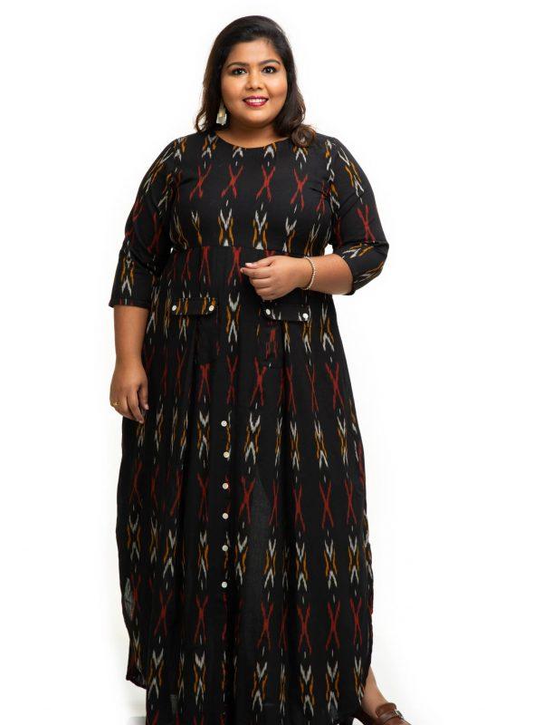 Black ikat cotton dress 3