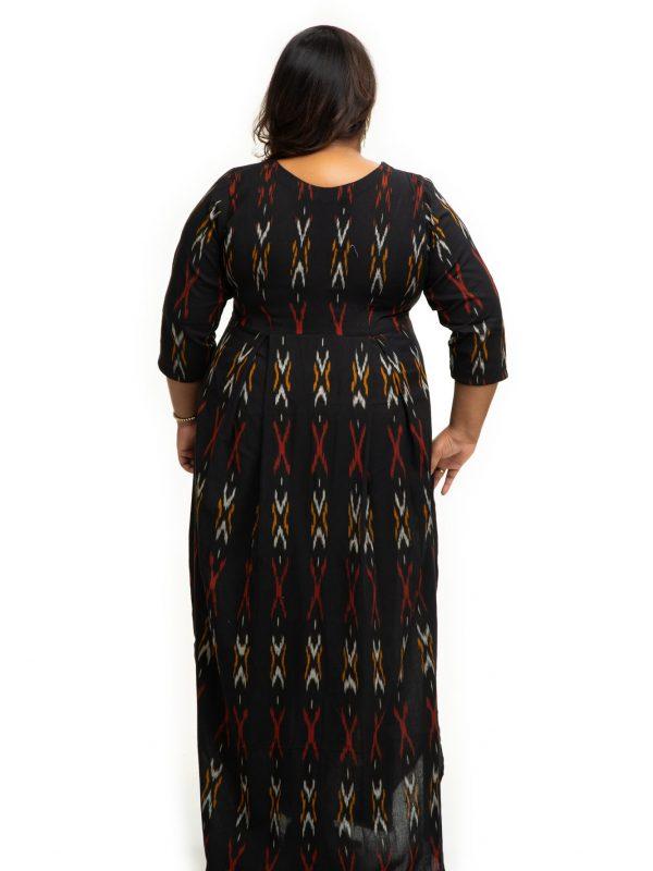 Black ikat cotton dress back