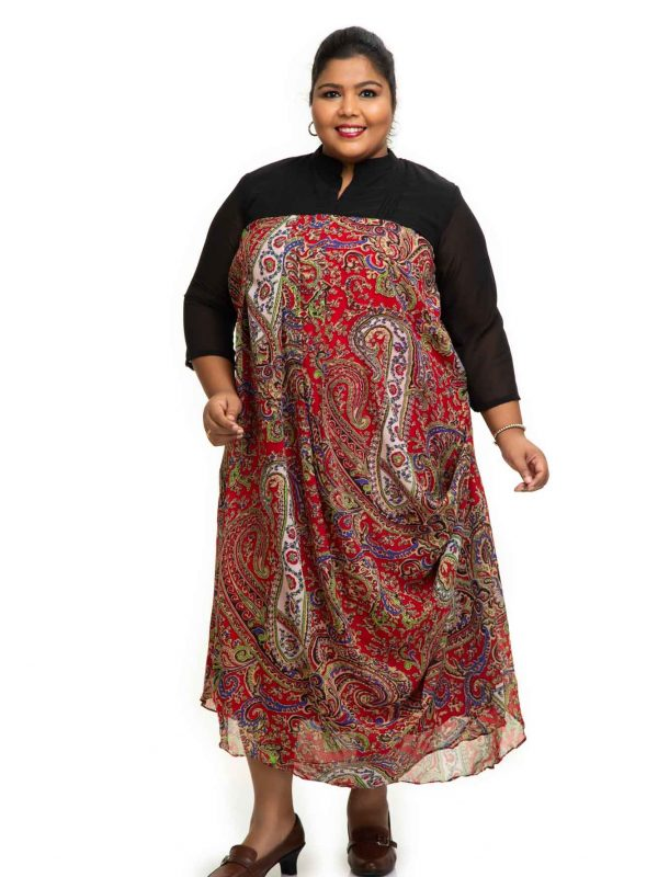 Red printed Cowl plus size Dress 3