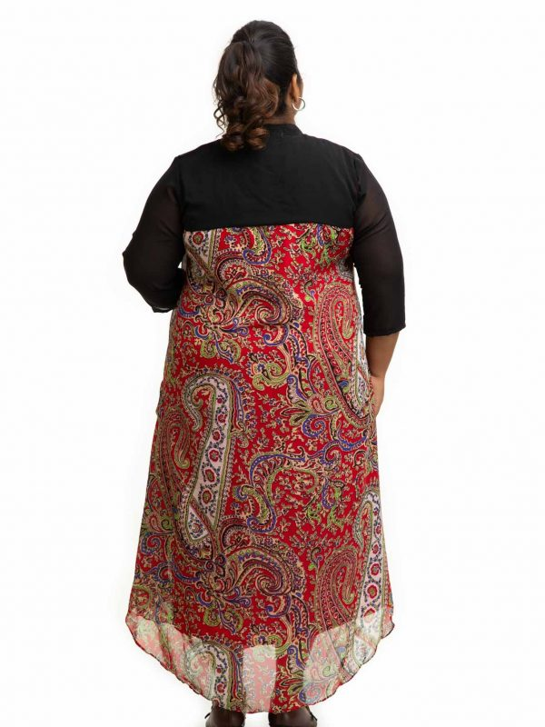 Red printed Cowl plus size Dress back