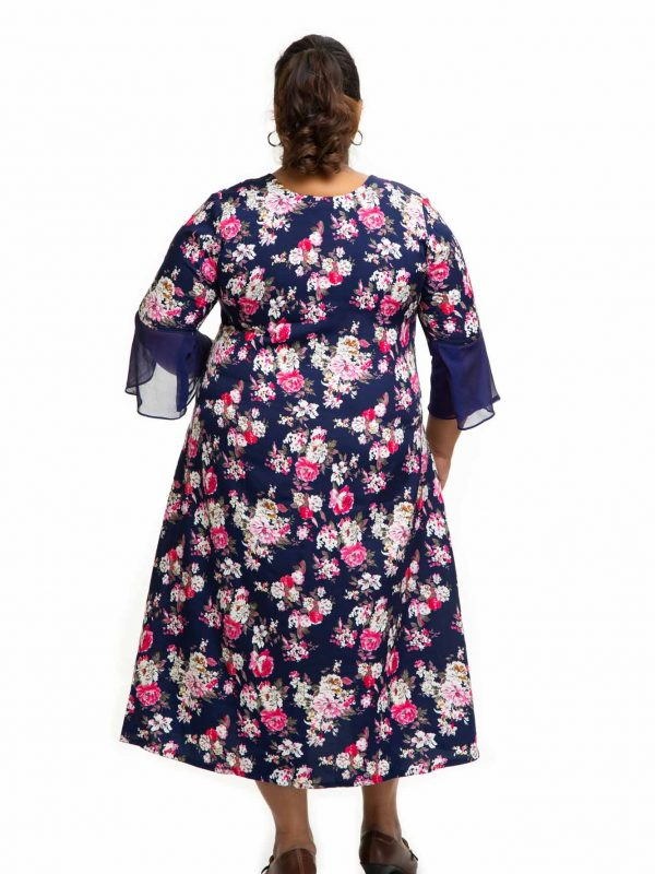Navy Blue sand crape dress back