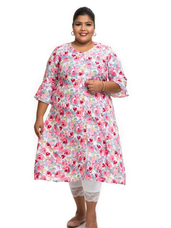 White sand crape Aline plus size Dress 2
