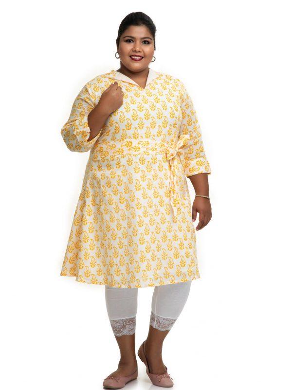 Yellow Cotton Block printed dress 3