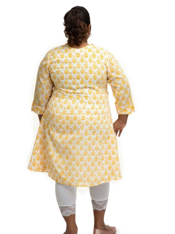 Yellow cotton block printed dress