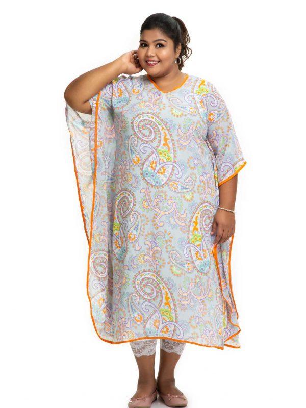 Sky Blue printed kaftan dress 4