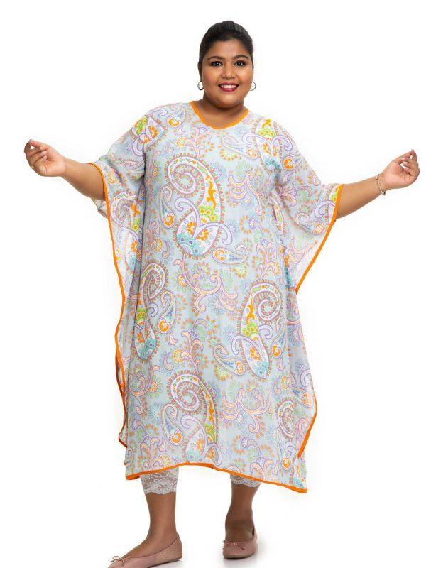 Sky Blue printed kaftan dress 3